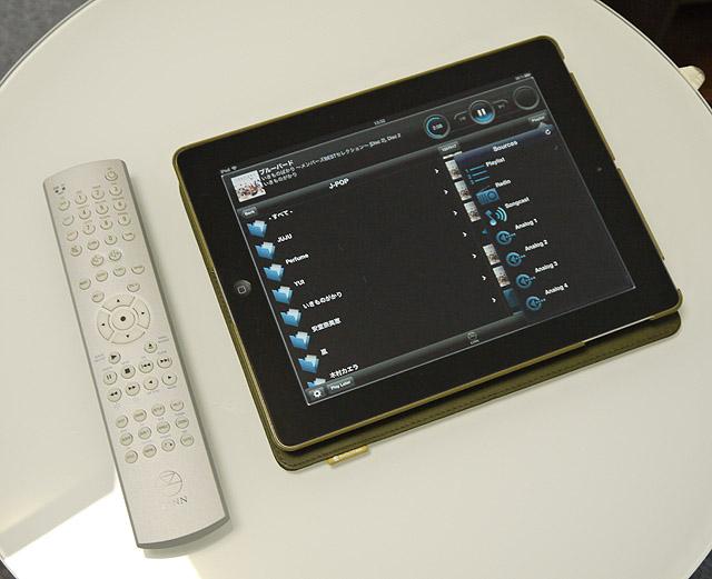 付属リモコンとiPad